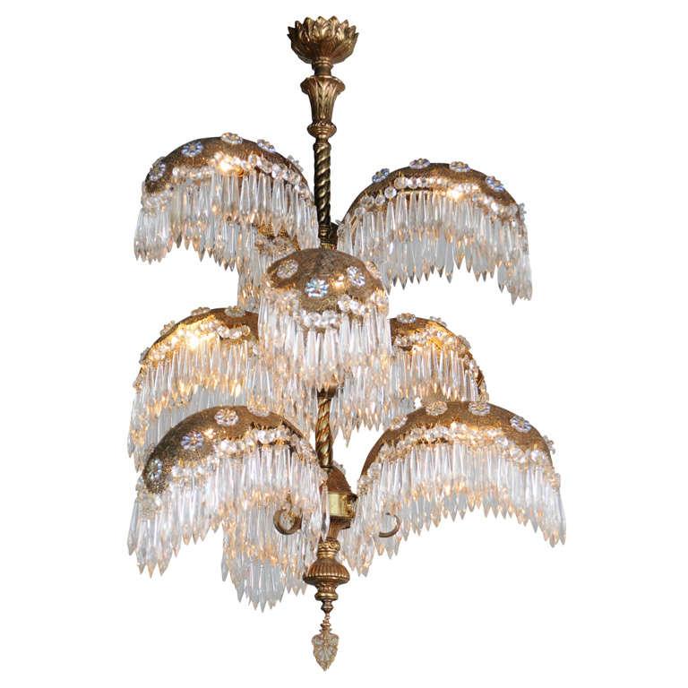 Italian Art Deco 9 Light Palm Tree Chandelier 1940 S For
