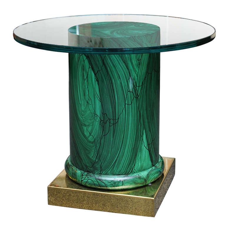Modern Chrome Glass Top Pedestal Stand