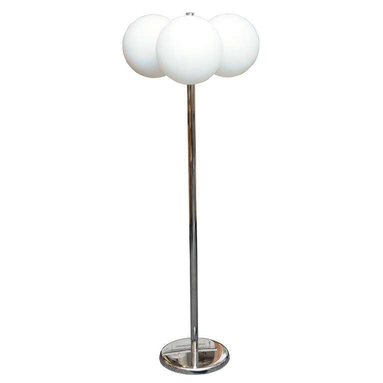 sleek sonneman satin glass orbs chrome floor lamp at 1stdibs With floor lamp glass orbs