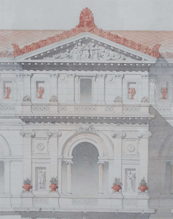 Architectural drawing front elevation of a villa at 1stdibs for Architectural drawings for sale