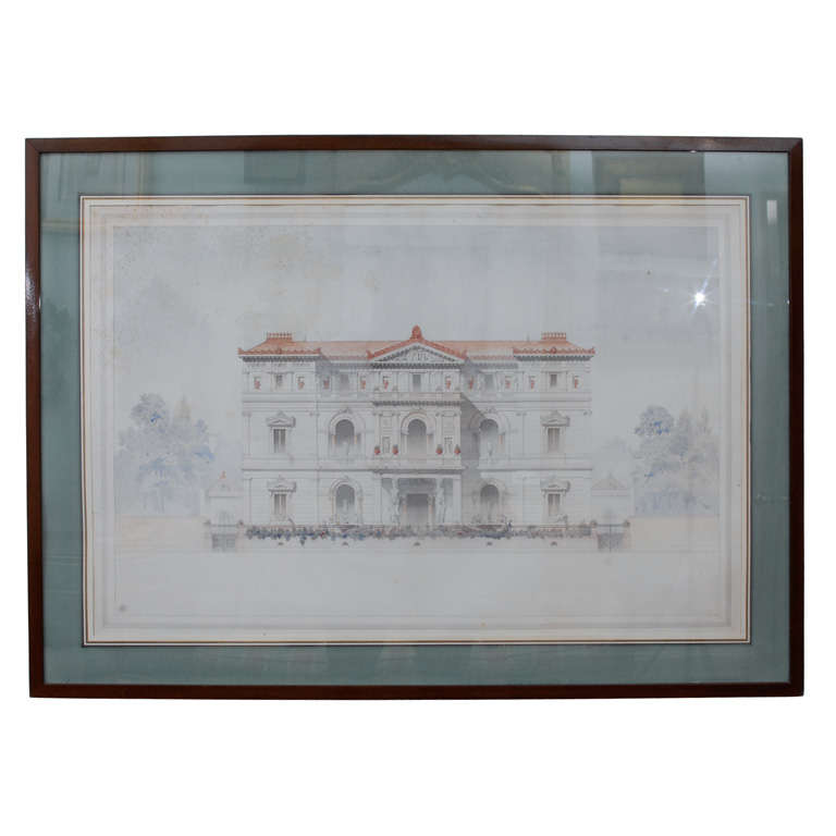 Front Elevation Antiques : Architectural drawing quot front elevation of a villa at stdibs
