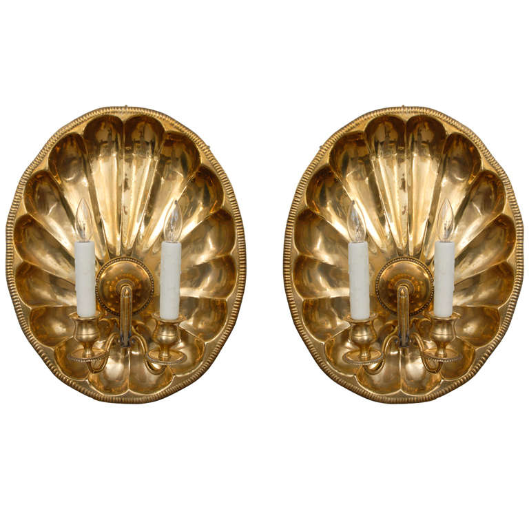 Brass Shell Wall Lights : Pair of Brass Shell Sconces at 1stdibs