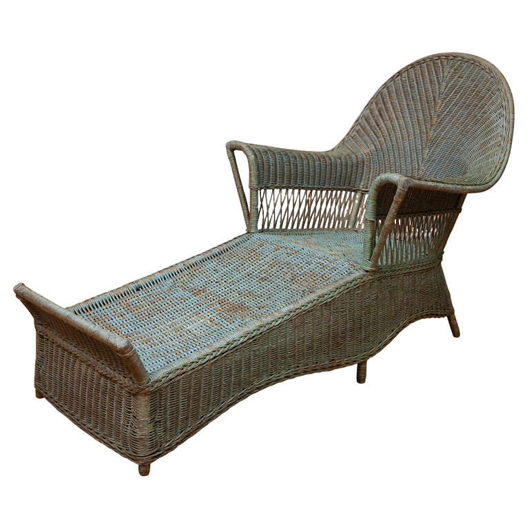Antique wicker chaise at 1stdibs for Antique wicker chaise lounge