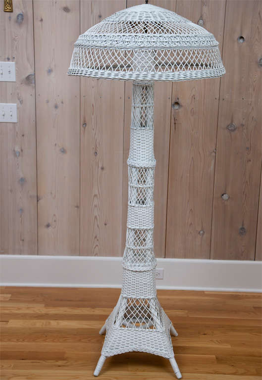Antique wicker floor lamp for sale at 1stdibs antique wicker floor lamp with double bulb fixture and pull chains aloadofball Images