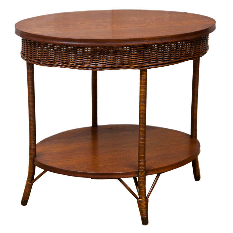 Antique Wicker And Oak Table 1