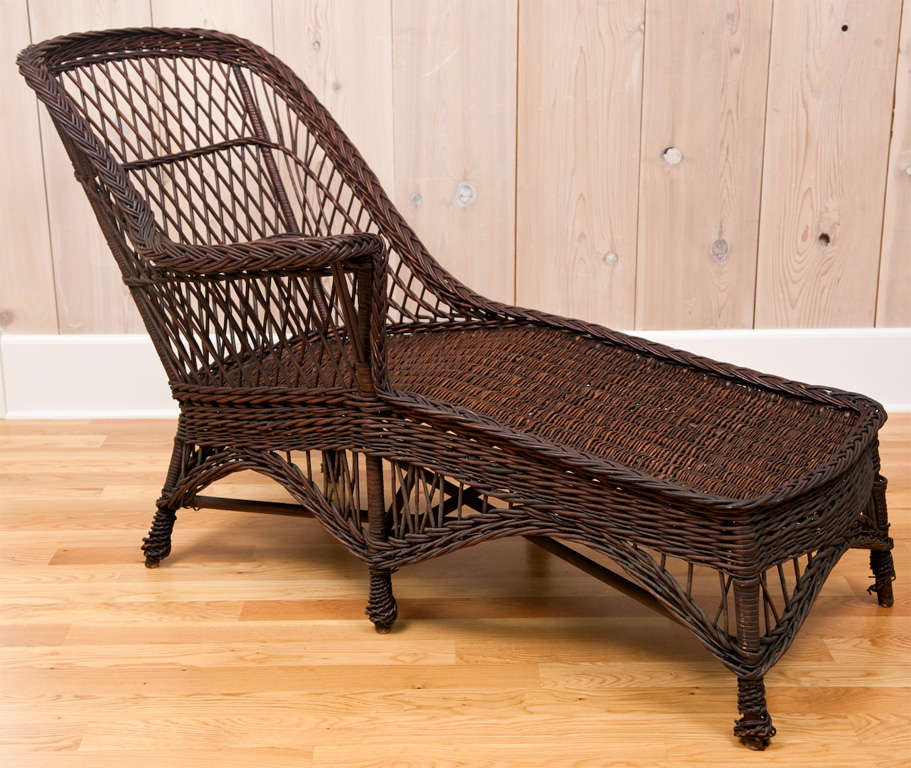 antique wicker chaise at 1stdibs. Black Bedroom Furniture Sets. Home Design Ideas