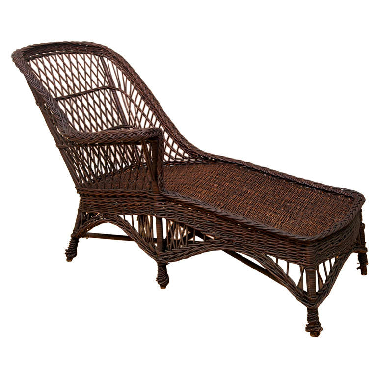 Antique wicker chaise for sale at 1stdibs for Antique wicker chaise