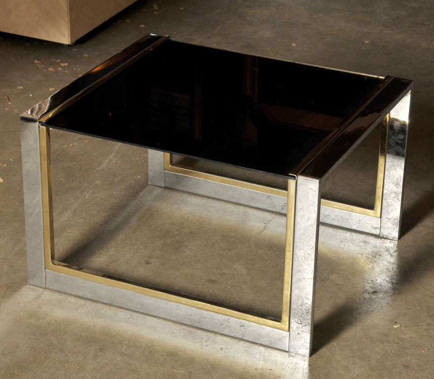 Mid-Century Modern Chrome, Brass, and Glass Side or Coffee Table For Sale