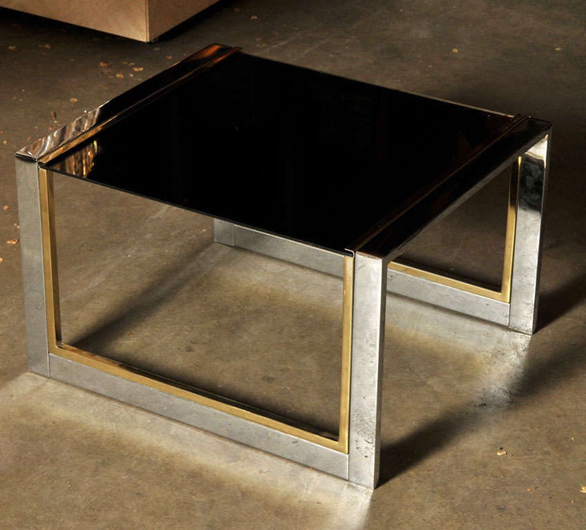 French Chrome, Brass, and Glass Side or Coffee Table For Sale