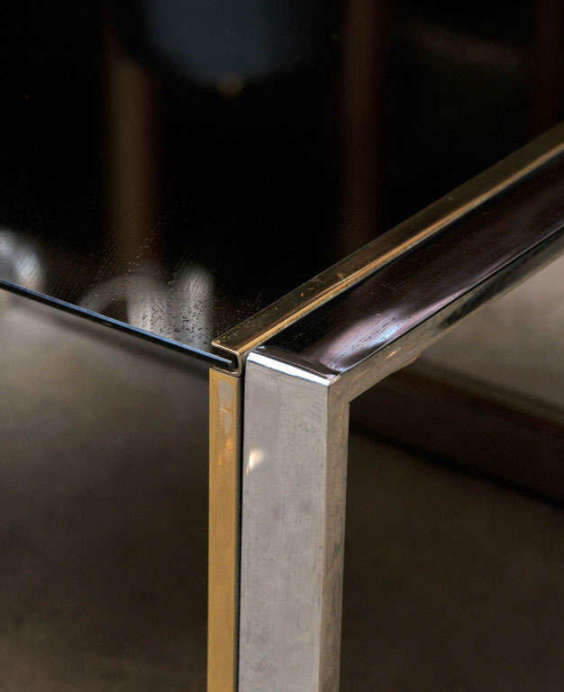 Chrome, Brass, and Glass Side or Coffee Table In Excellent Condition For Sale In Amsterdam, NL