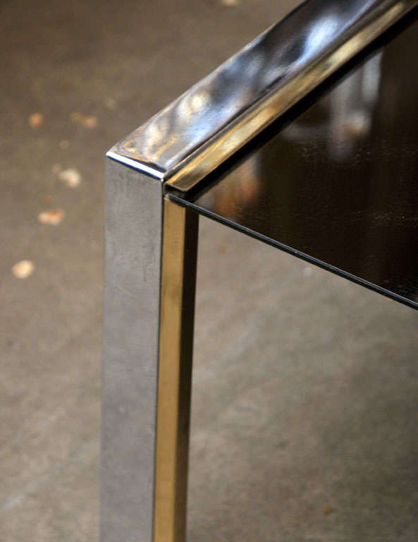 Late 20th Century Chrome, Brass, and Glass Side or Coffee Table For Sale