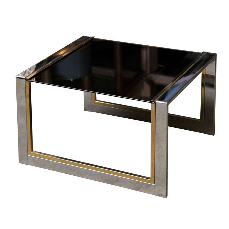Chrome, Brass, and Glass Side or Coffee Table For Sale