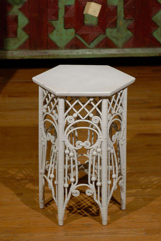 American Victorian Wicker Taboret Table 2