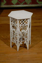 American Victorian Wicker Taboret Table image 7