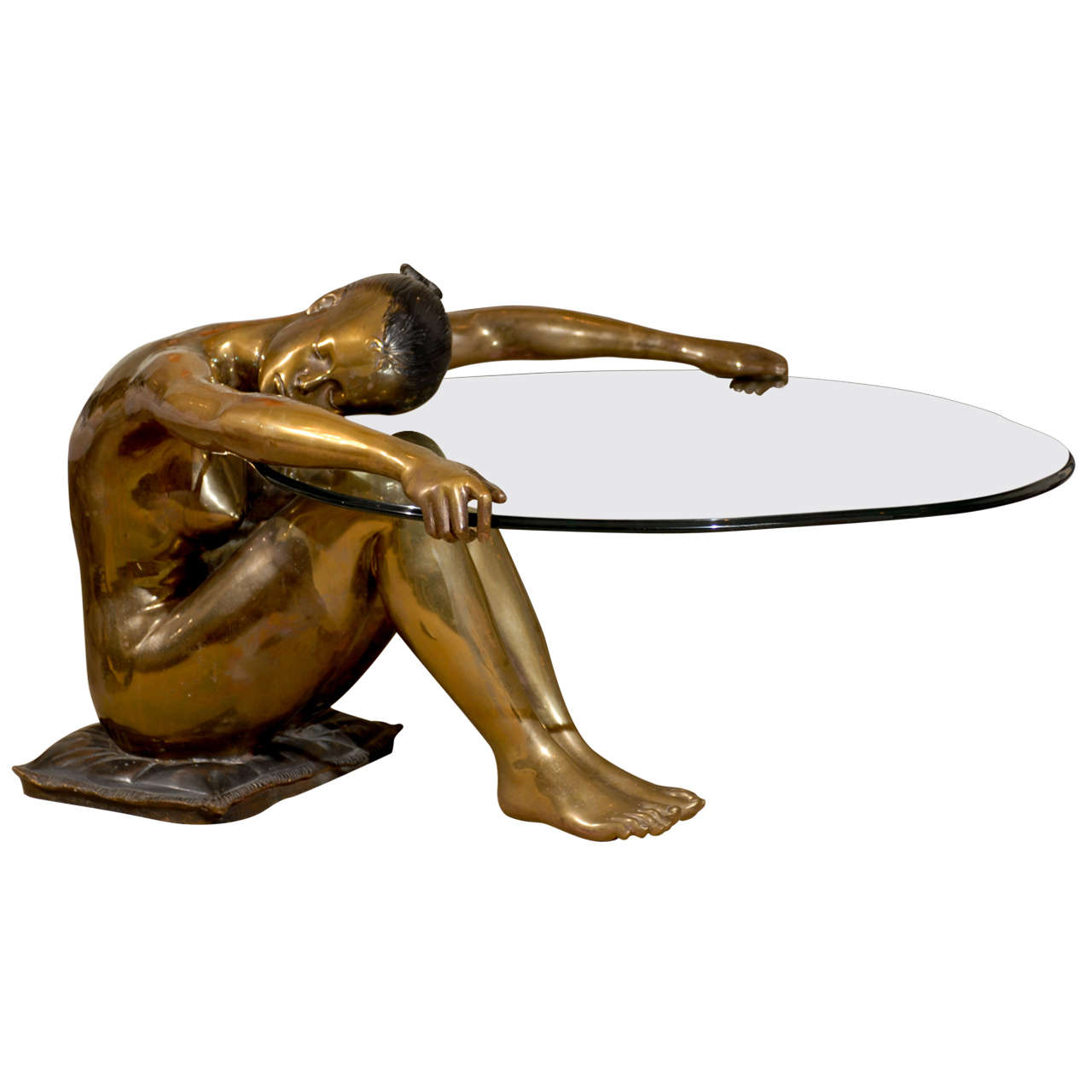 Marvelous Exceptional Vintage Female Nude Sculpture Coffee Table 1