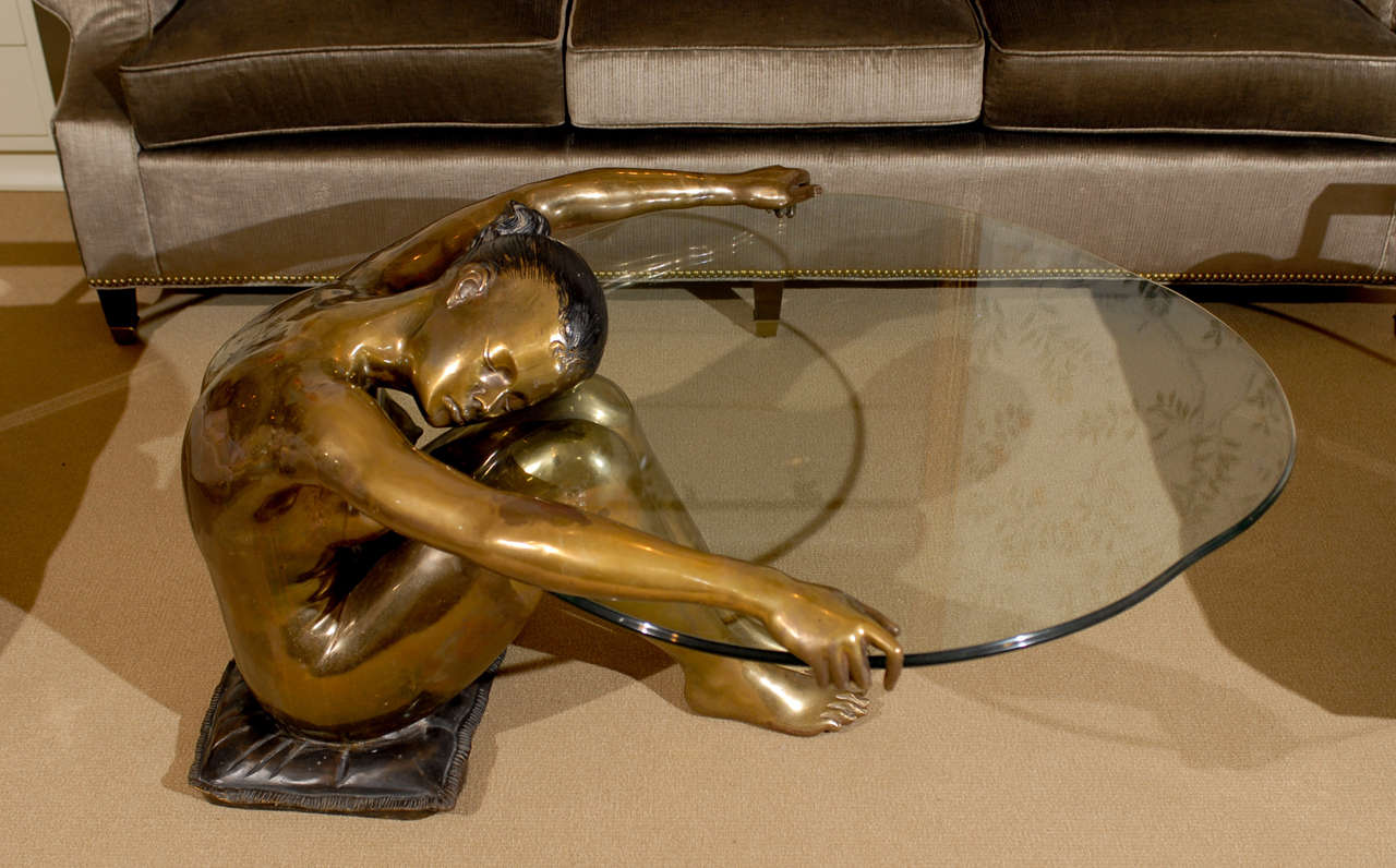 Exceptional Vintage Female Nude Sculpture Coffee Table 8