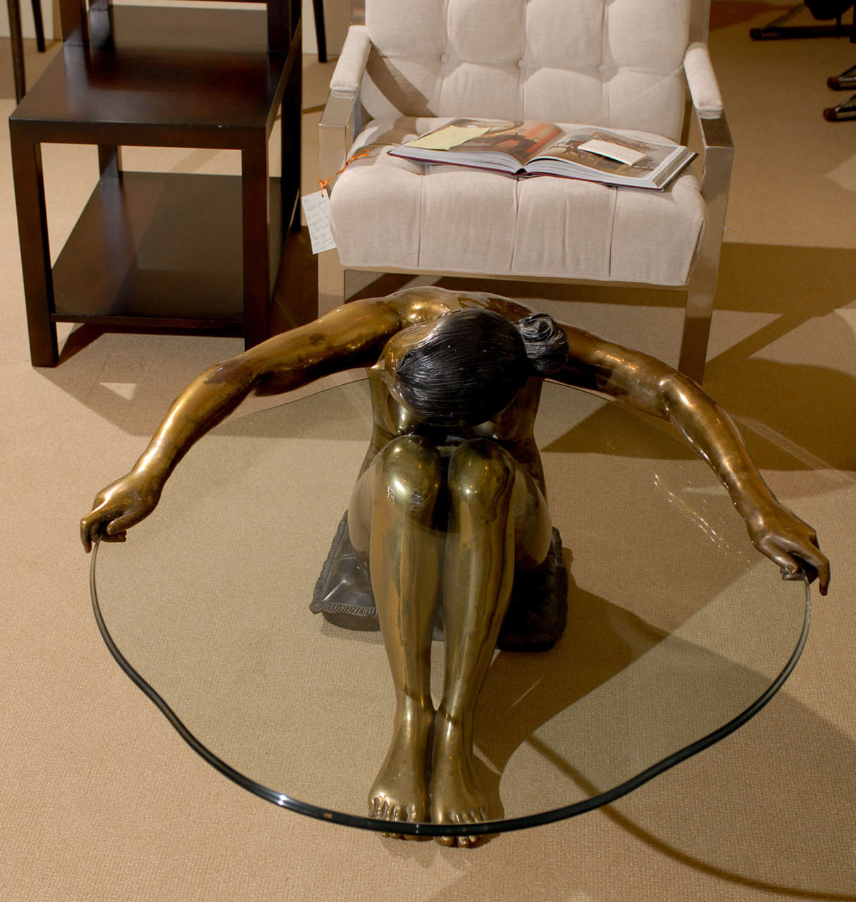 Exceptional Vintage Female Nude Sculpture Coffee Table 4
