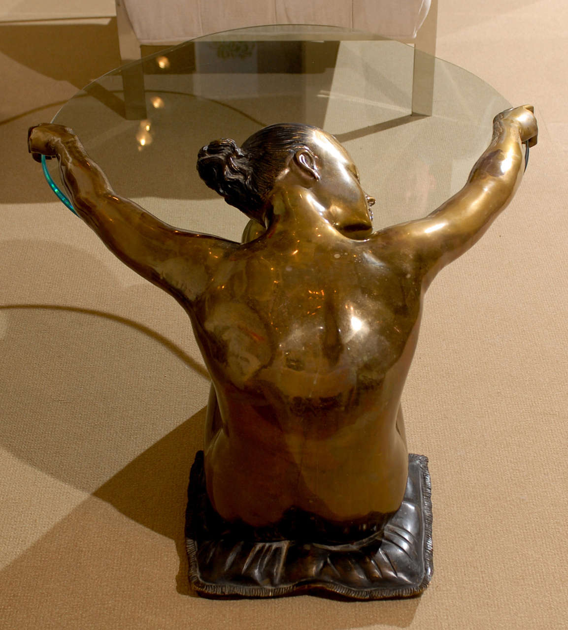 Exceptional Vintage Female Nude Sculpture Coffee Table 5