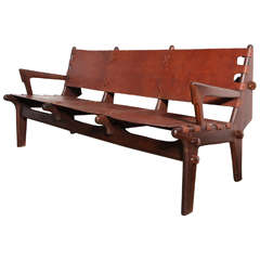 Early 1960s Angel Pazmino Rosewood and Russet Leather Ecuadorian Three-Seat Sofa