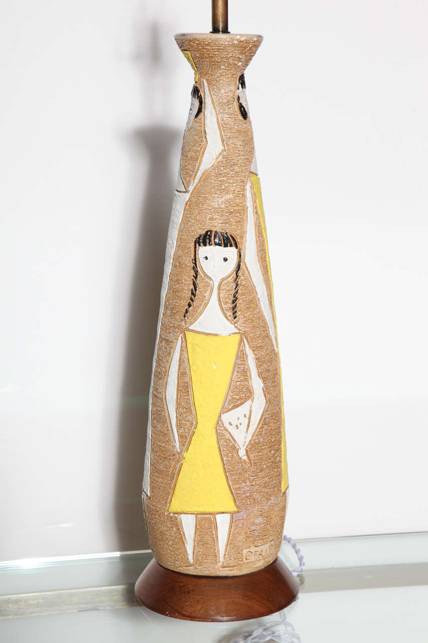 Mid-Century Modern Substantial Frederick Weinberg Fine Art In Plaster Figurine Table Lamp, 1950s For Sale