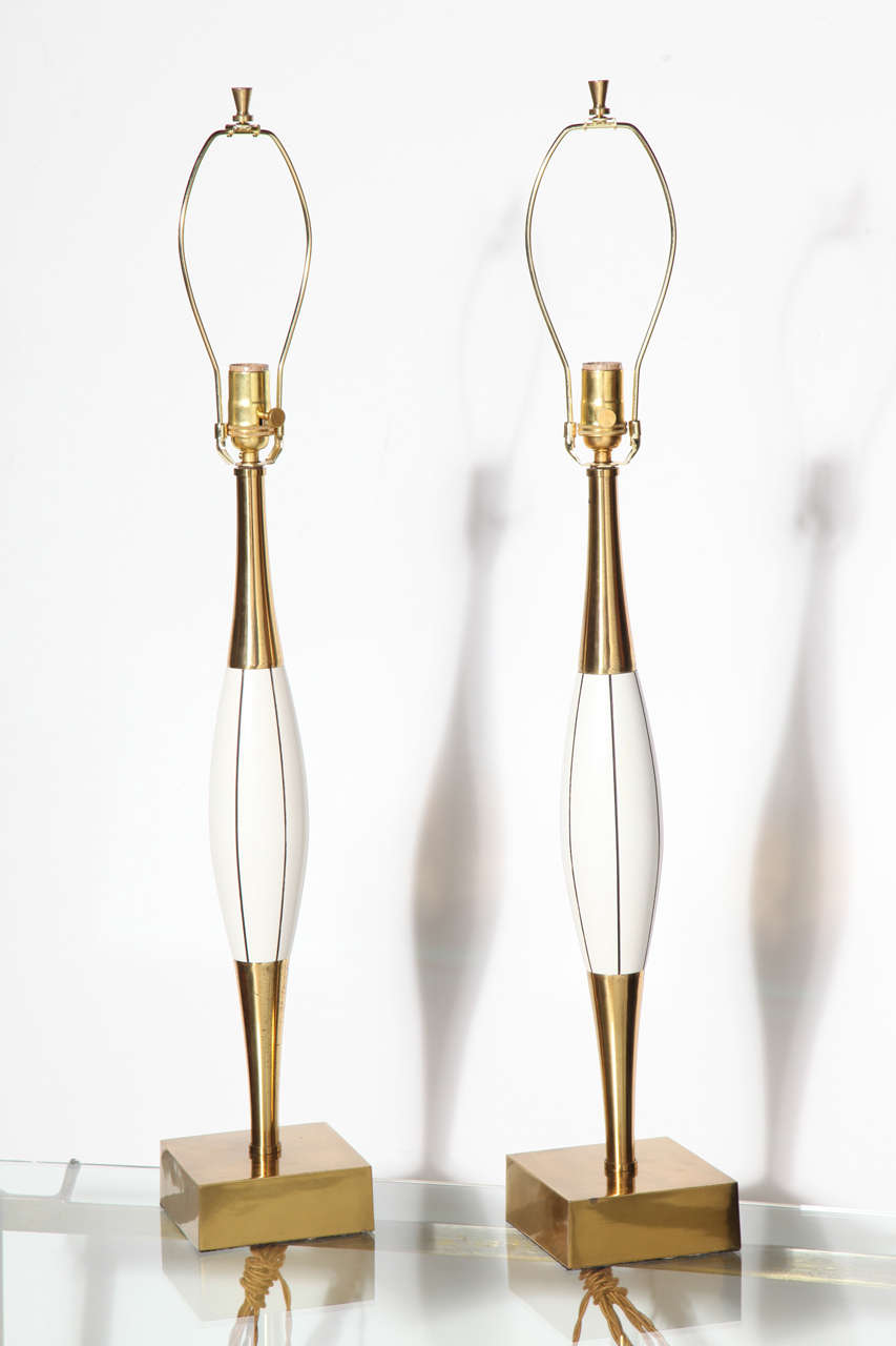 Monumental Pair of Stiffel White Table Lamps with Brass and Black Linear Detail 2
