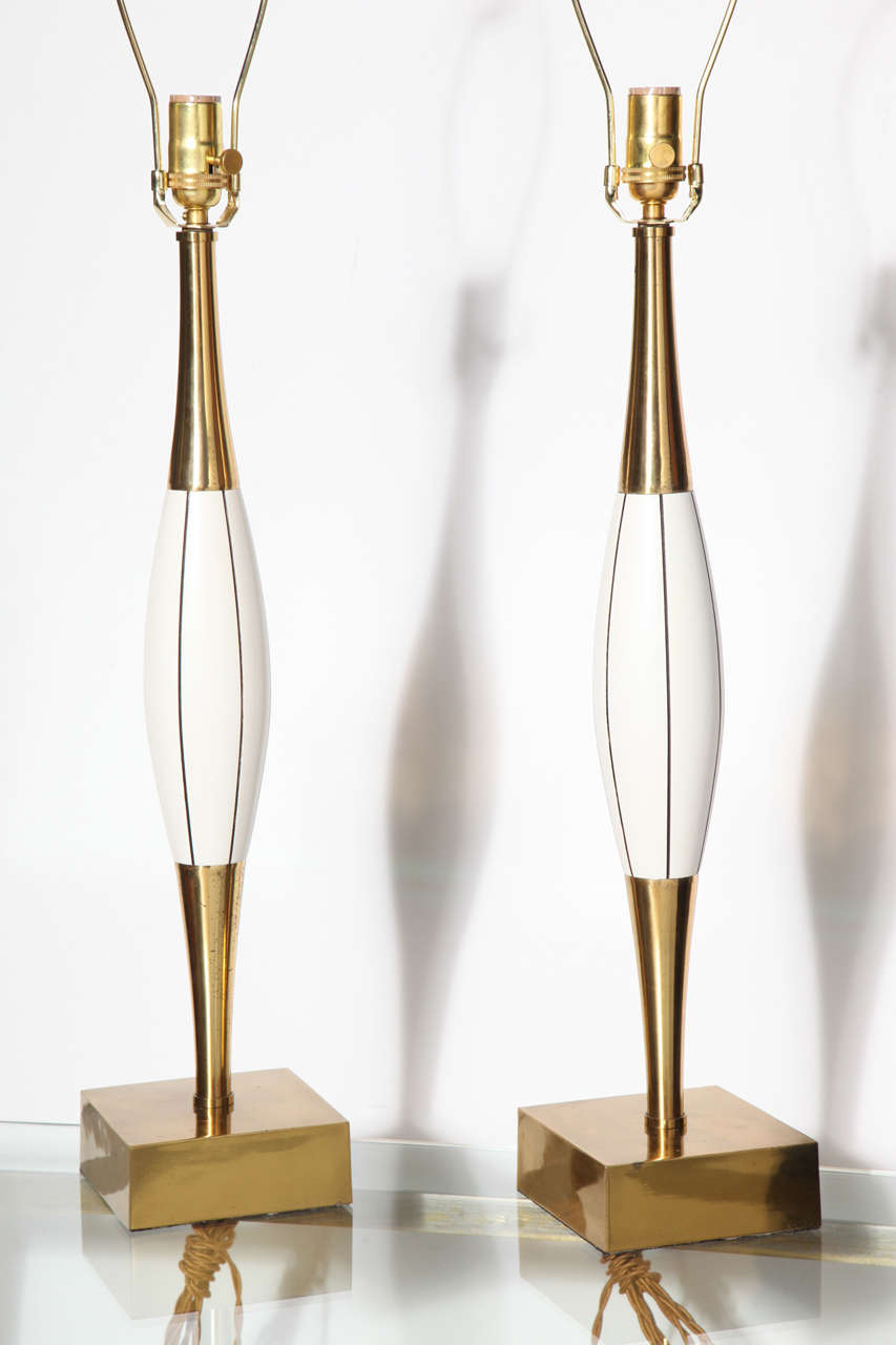 Monumental Pair of Stiffel White Table Lamps with Brass and Black Linear Detail 3