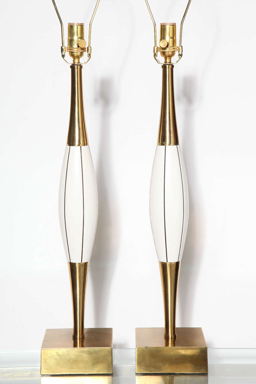 Monumental Pair of Stiffel White Table Lamps with Brass and Black Linear Detail 6