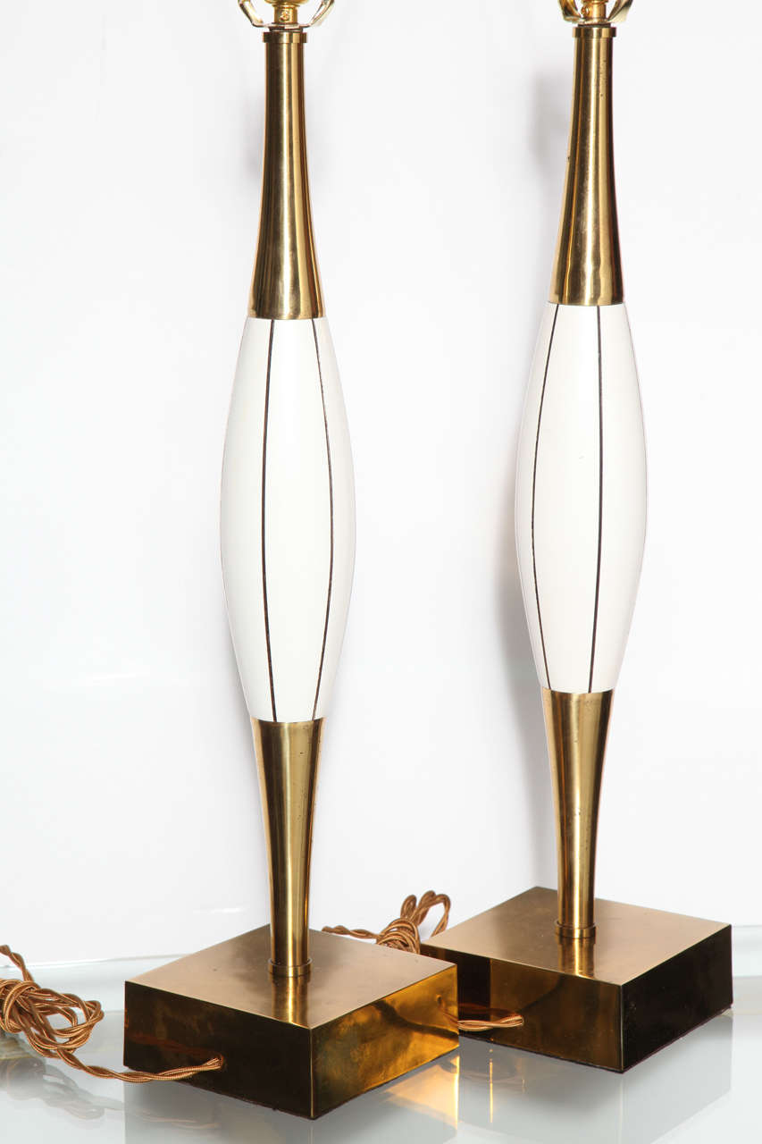 Monumental Pair of Stiffel White Table Lamps with Brass and Black Linear Detail 7