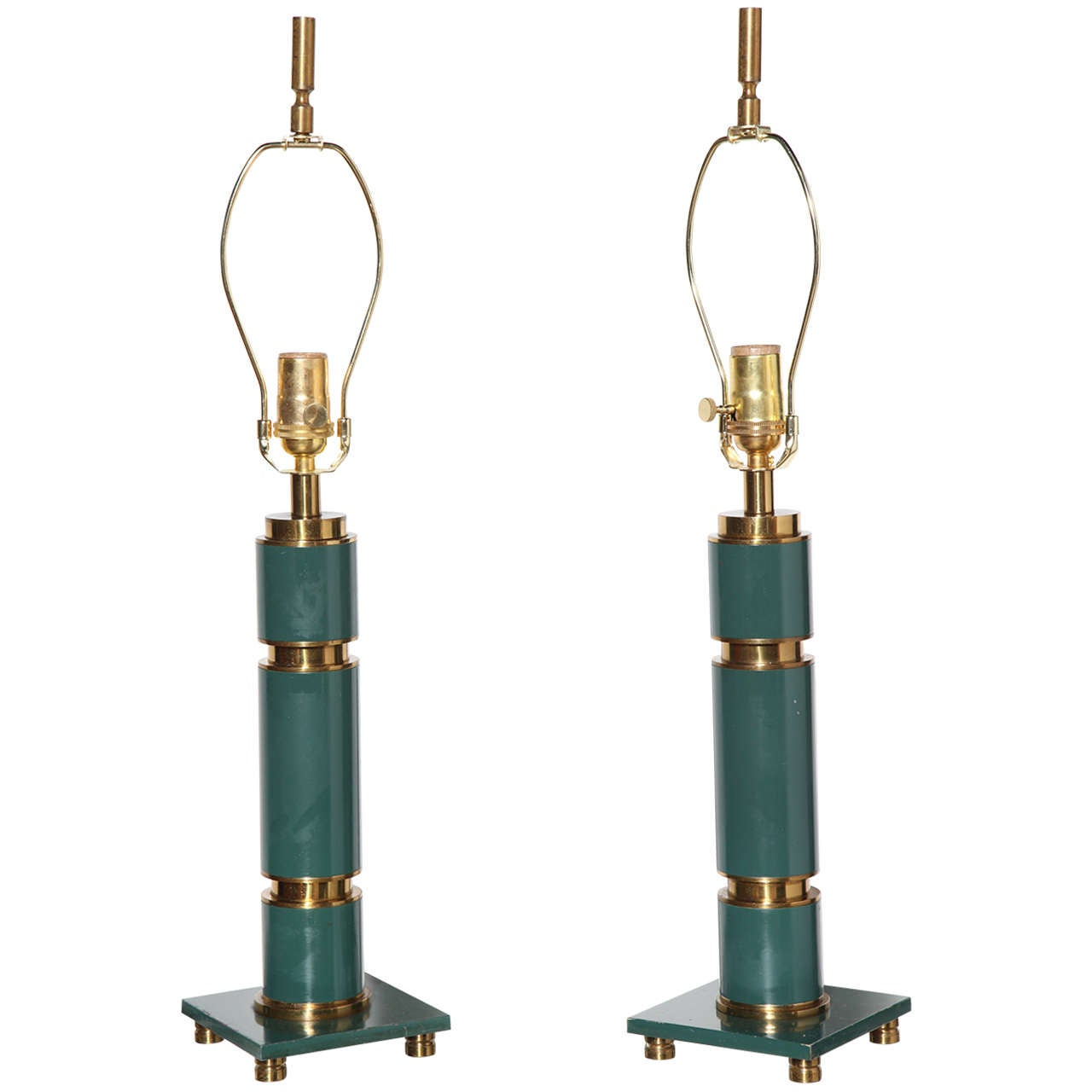 Pair of 1940s Walter Von Nessen Style Brass and Enameled Teal Lamps