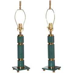 Pair Walter Von Nessen Style Stacked Teal Enamel & Brass Table Lamps, 1940s