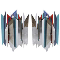 "Pair of Simon Henningsen for Lyfa ""Tivoli"" Chrome, Blue, Aqua and Red Pendants"
