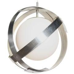 "Laurel Lamp Co. Aluminum Banded ""Saturn"" Hanging Pendant with White Globe"