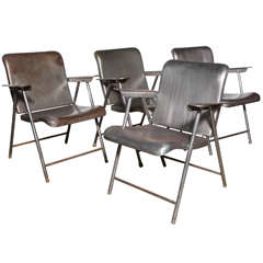 set of 4 Russel Wright folding Arm Chairs