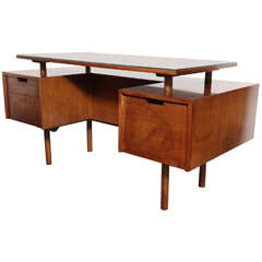 early Milo Baughman Glenn of California two-sided Floating Walnut Desk
