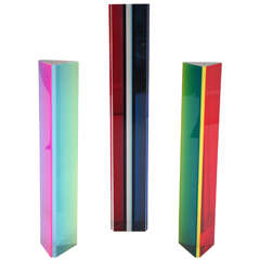 Trio of Acrylic Hexagonal Column Sculptures by Vasa