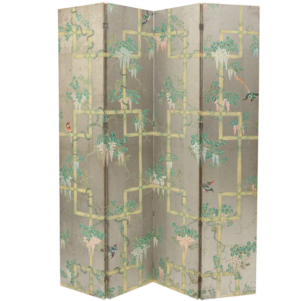 Folding Screen Chinoiserie Four Panel Wallpaper Folding Screen At 1stdibs