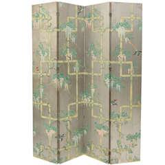 Chinoiserie Four Panel Wallpaper Folding Screen