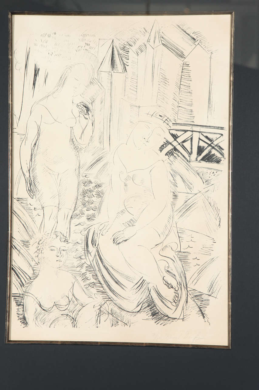 French Trois Baigneuses Devant le Port de Sainte-Adresse Lithograph by Raoul Dufy For Sale