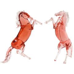 Pair of Murano Glass Stallions by Pino Signoretto