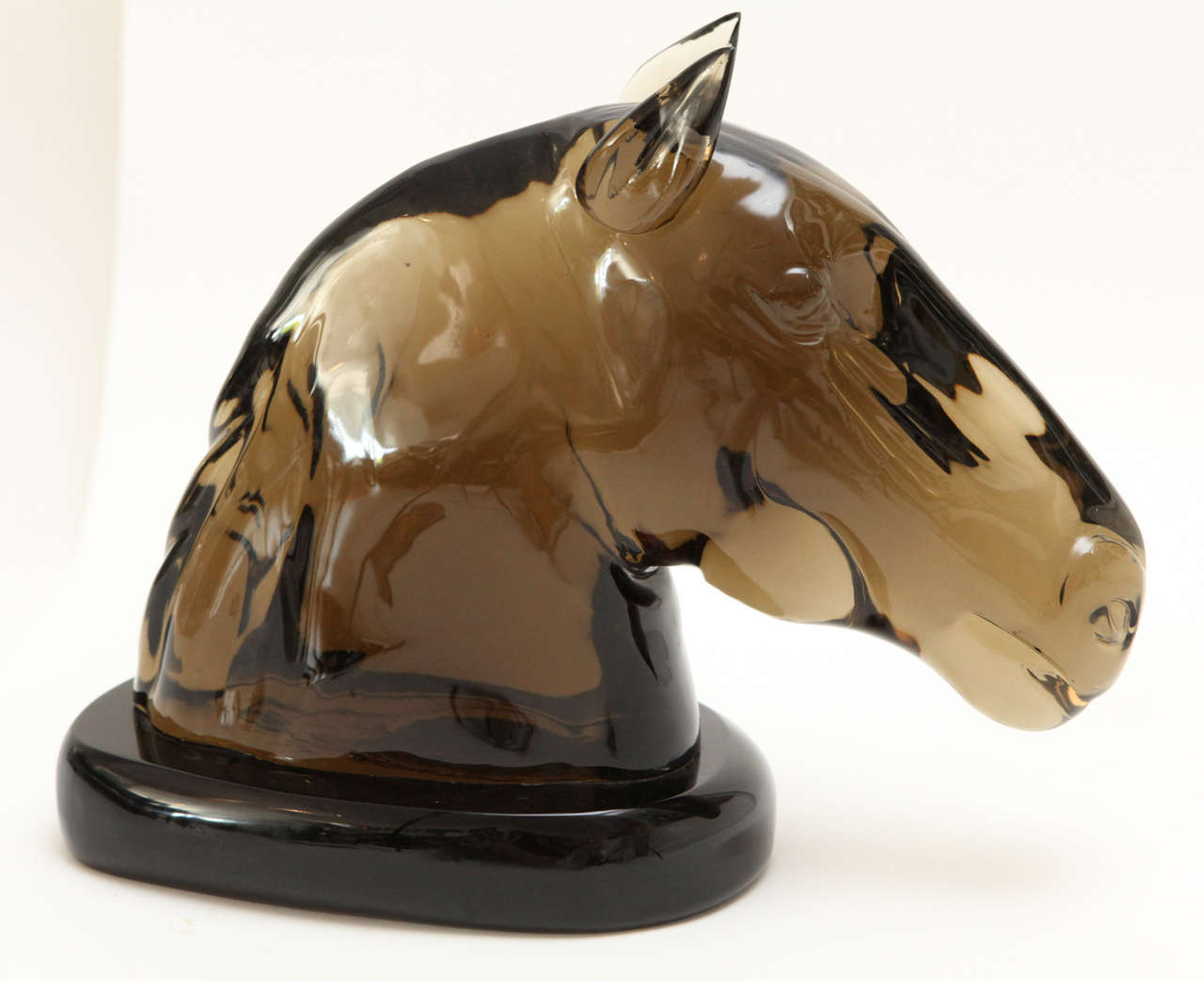 A stunning smoke grey Murano glass horse head sculpture by master glass artist, Ermanno Nason. Signed and dated on the base