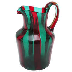 Red and Green Murano Glass Pitcher by Venini