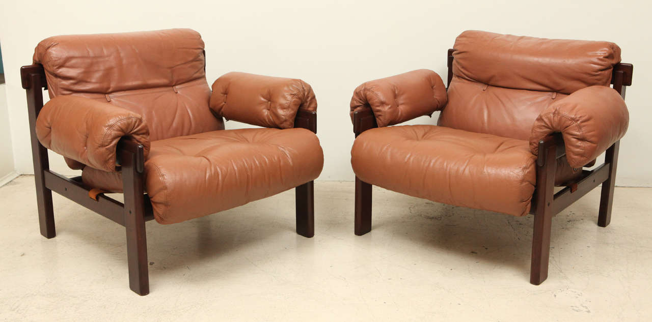 Pair of Arne Norell Leather Arm Chairs