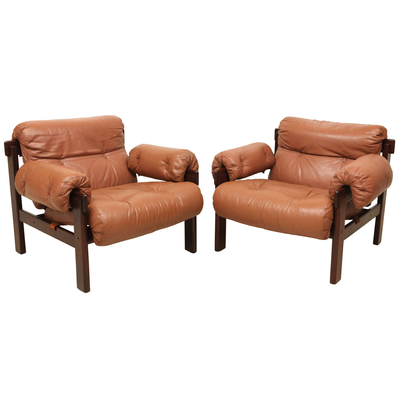 Pair of Arne Norell Leather Armchairs
