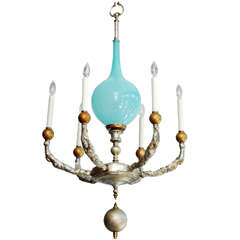 Vintage Blue Murano Glass Chandelier- One of a Kind