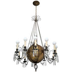 Massive and Impressive Antique Brass and Crystal Chandelier