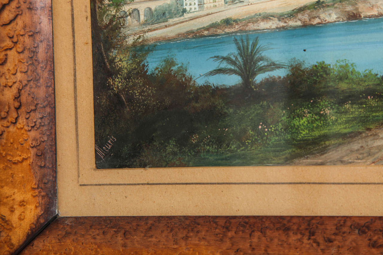 Framed Gouache of the Bay of Naples 2
