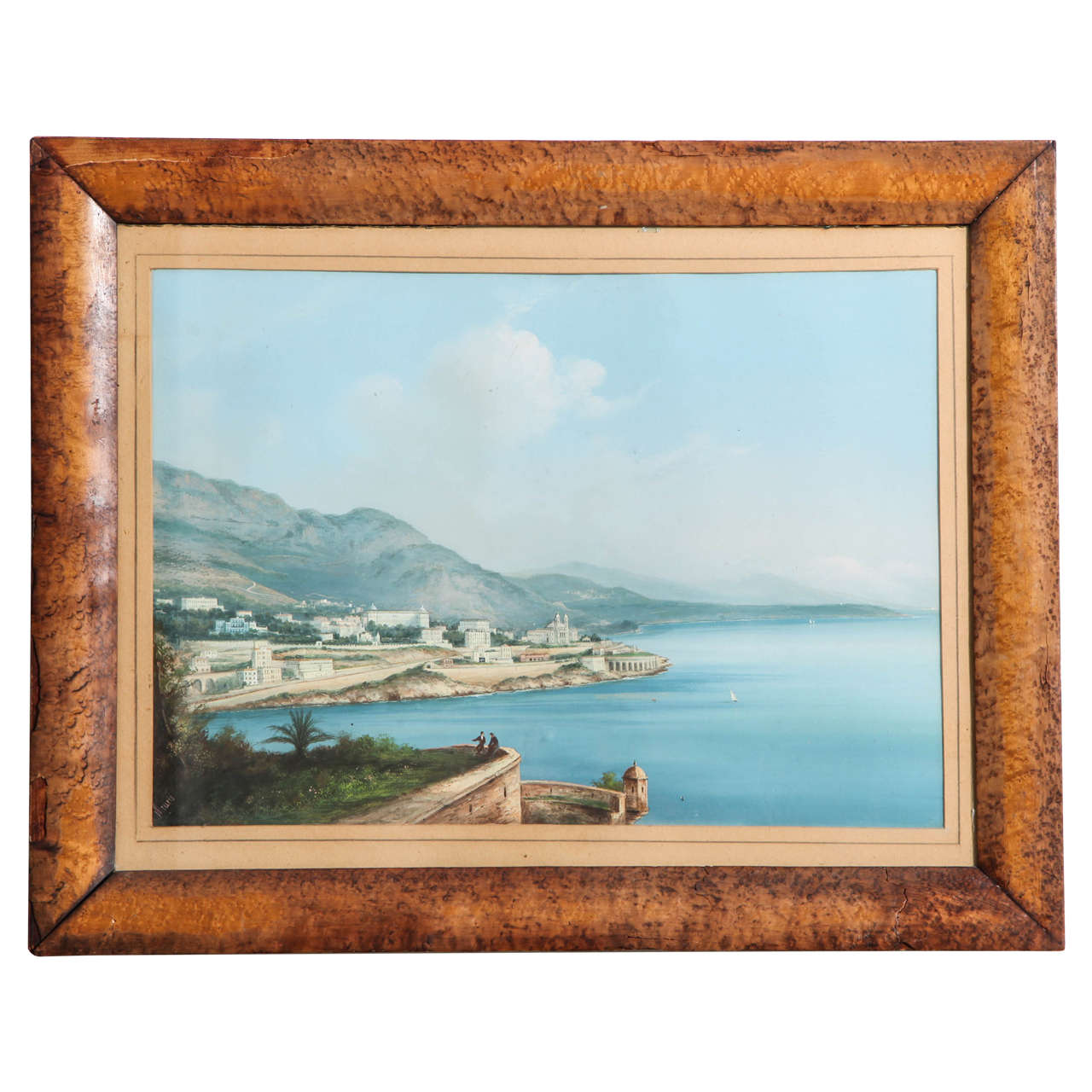 Framed Gouache of the Bay of Naples 1