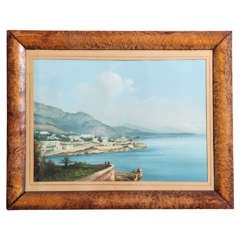 Framed Gouache of the Bay of Naples