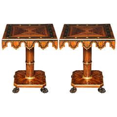 Pair of Calamander Pedestal Tables