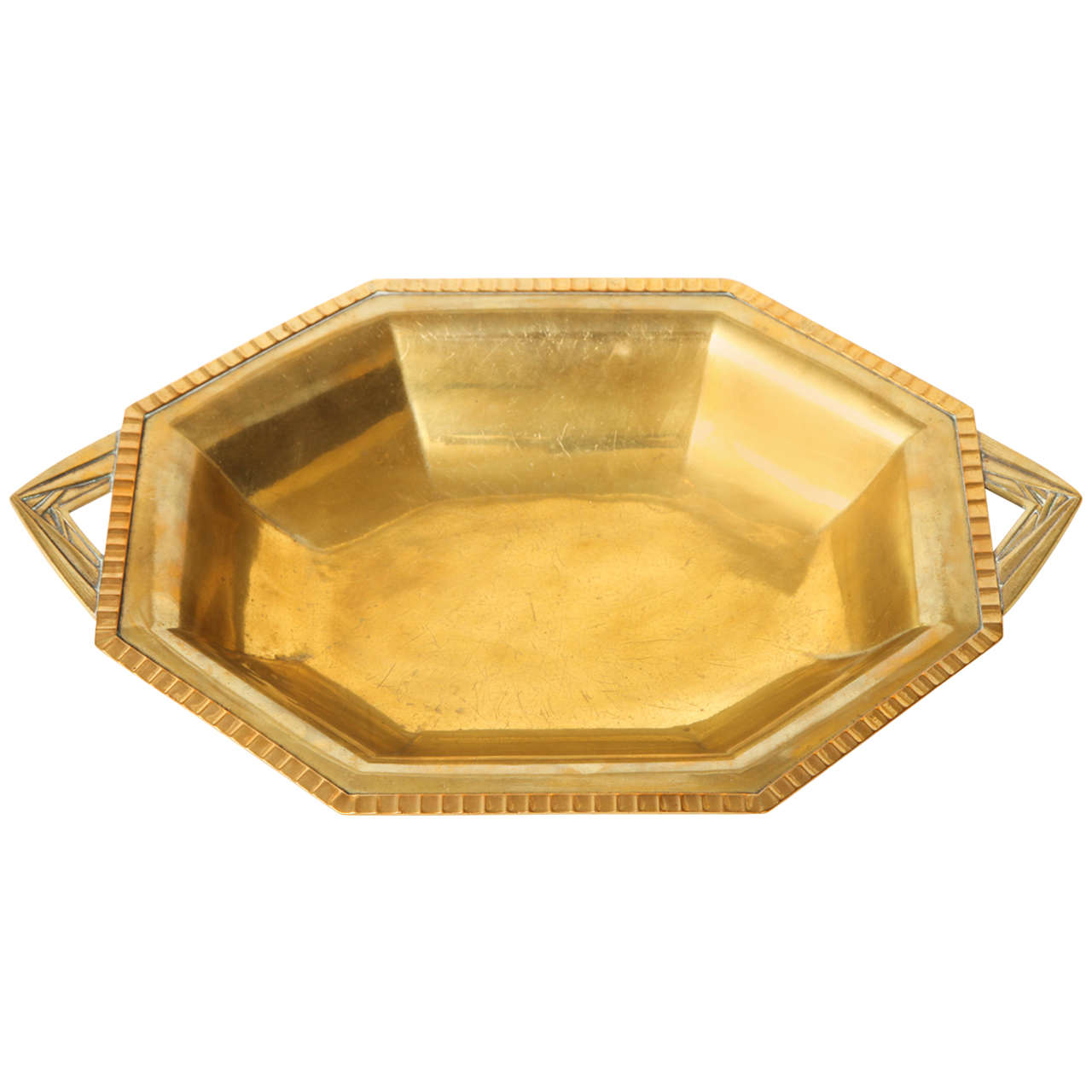 French Art Deco Brass Centerpiece or Fruit Bowl by RB at 1stdibs
